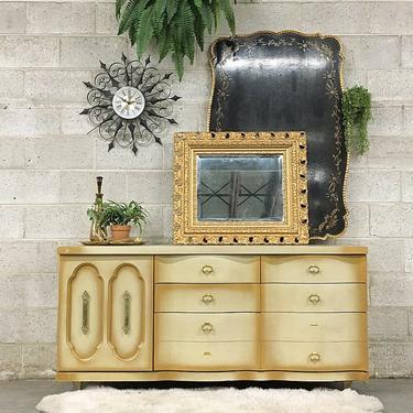 LOCAL PICKUP ONLY Vintage Bassett Dresser Retro 1960s Blonde Wood + Nine Drawer + Gold Metal Details Bureau for Bedroom or Clothing Storage by RetrospectVintage215