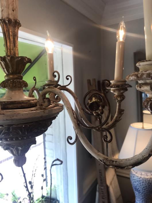 6 arm antique Italian chandelier