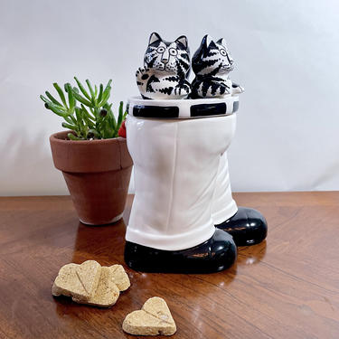 Vintage Kliban Cat Treat Cookie Jar, Canister - Black White, Kitchen Storage, Cats Wearing Pants, Collectible, Cat Lover or Cat Parent Gift by VenerablePastiche