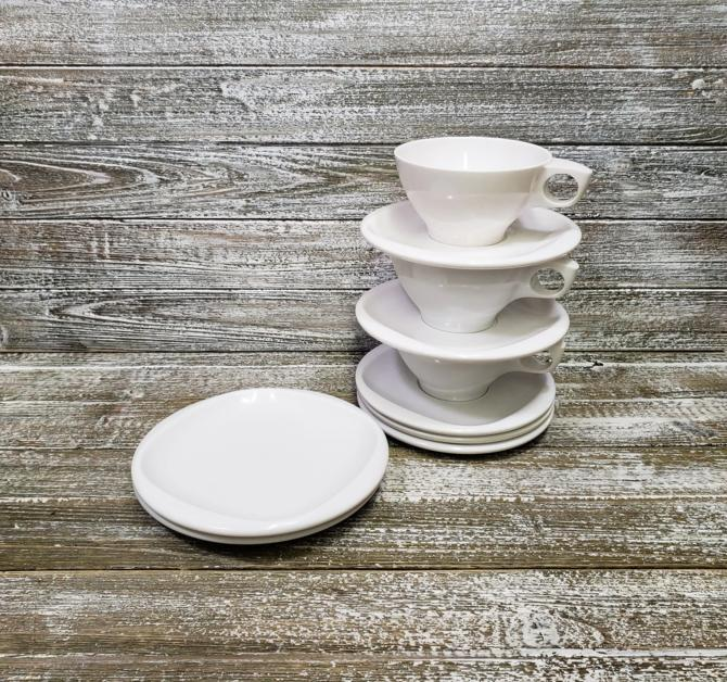 Vintage 1950s Boontonware Plastic Dishes, Bright White Dinnerware, Melamine Melmac Dish Set, Cups & Plates, Camping RV, Vintage Kitchen by AGoGoVintage