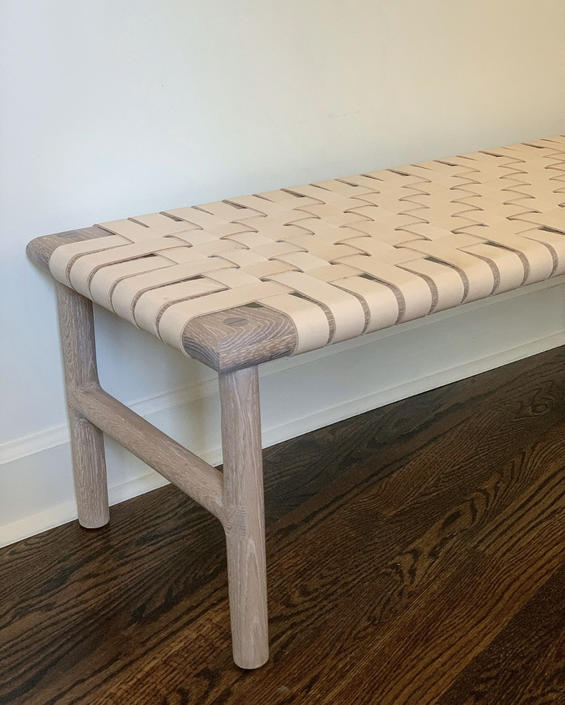 Entryway bench, mud room bench, wood and leather bench by WoodbeeWoodworks