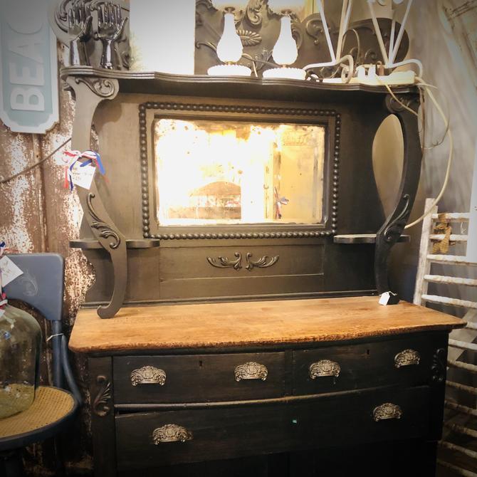 Black Vintage Dresser & Mirror