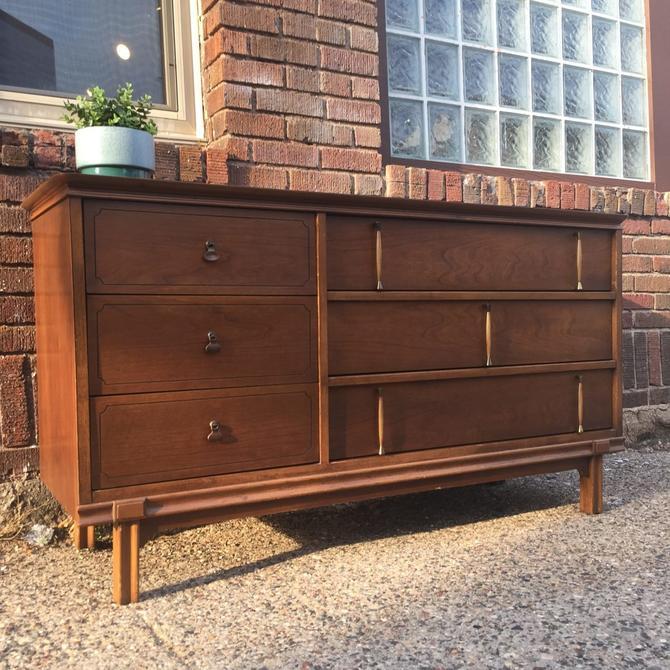 Cherry Mid-Century Lowboy Dresser w/ Asymmetrical Design