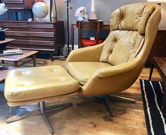 Vintage Swivel Lounge Chair   & Ottoman by S & J Sloane Furniture Co, NYC