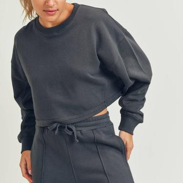 Cropped Long Sleeve Top - Charcoal Grey