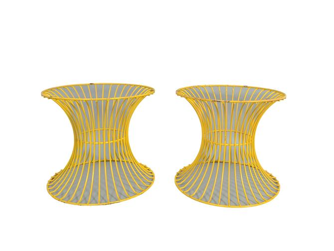 Yellow Table Bases Platner Style Pair of Tables Mid Century Modern by HearthsideHome