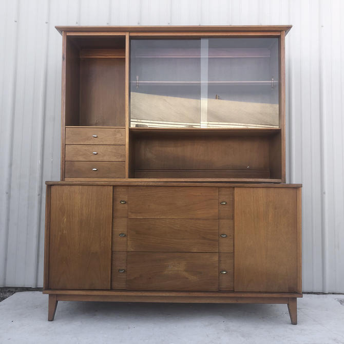 Mid-Century Modern Sideboard With China Cabinet Top by secondhandstory