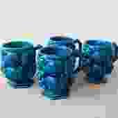 Set of 4 Indigo Blue Fruit Bowl Mugs
