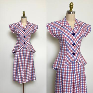 Vintage 1940s Women's Suit 40s Dress w Peplum Cotton Pink and Blue Check by littlestarsvintage