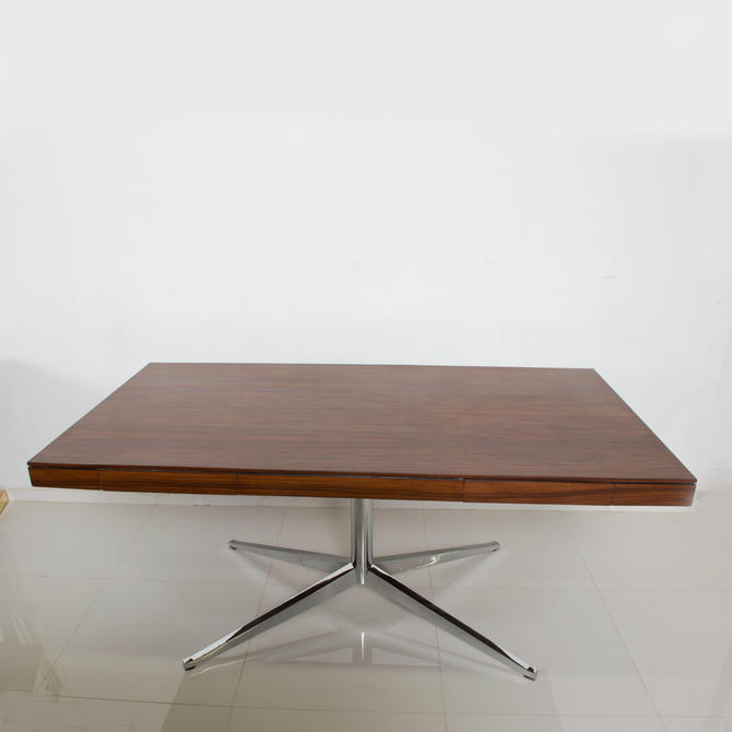 Florence KNOLL Executive Partners DESK Rosewood w/ Chrome Legs Refined Classic by AMBIANIC