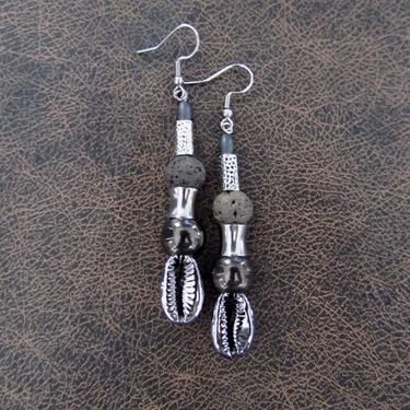 Cowrie shell earrings, gunmetal earrings, gray earrings, etched silver Afrocentric African tribal dangle earrings, abstract goth earrings by Afrocasian
