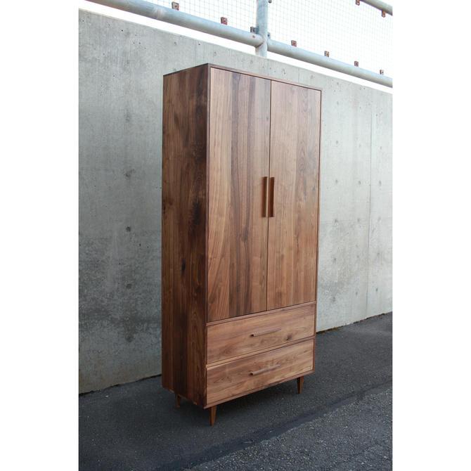Modern Armoire, Wood Wardrobe Armoire, Solid Hardwood Armoire, Modern Solid Wood Wardrobe (Shown in Walnut) by TomfooleryWood