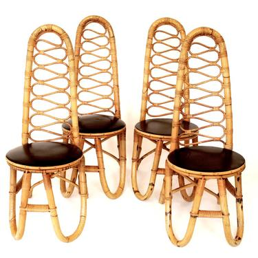 FRENCH BAMBOO AND RATTAN FRENCH RIVIERA FOUR SCULPTURAL DINING CHAIRS CIRCA 1970