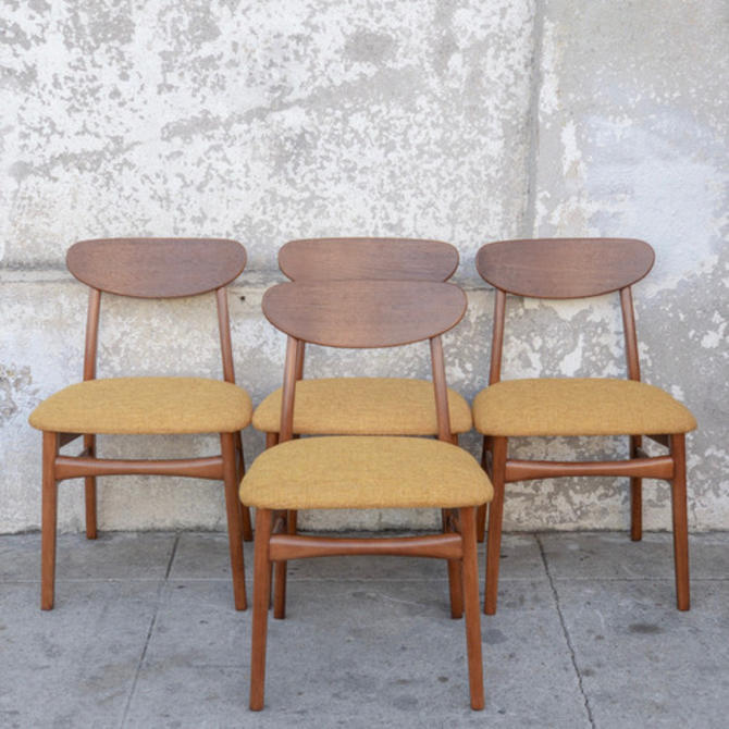 Vintage Restored Dining Chairs with Mustard Seat