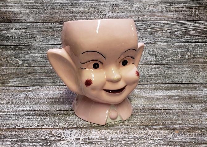 Vintage Pixie Cookie Jar, Elf Bust Cookie Canister, Mid Century Modern Elf Head Vase, Retro Hand Painted Pixie Elf Planter, Vintage Kitchen by AGoGoVintage
