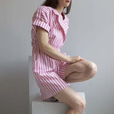 80s pink & white striped summer romper playsuit / 10 P by EELT