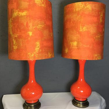 Vintage Mid Century Modern Large Table Lamp Pair Orange Ceramic Speckle Retro Atomic Original Shades by HouseofVintageOnline
