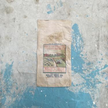 Vintage 1950s Kelleys Garden Seed Sack Peoria & San Jose, Il by NorthGroveAntiques