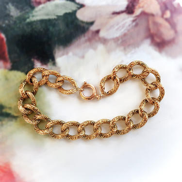 Antique Victorian Repousse Link Bracelet 14K 7.5 Inch Wrist by YourJewelryFinder