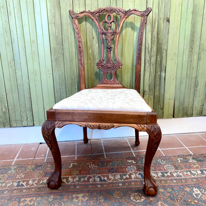 Antique Carved Oak chair w/ fabric seat