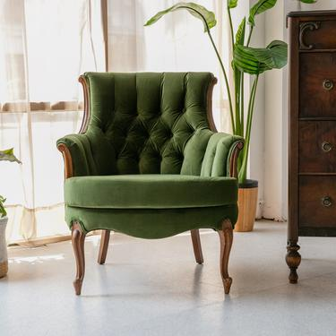 Olive Green French Parlor Chair
