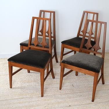 set of 4 vintage mid-century double diamond back dining chairs by fingerlickingvintage