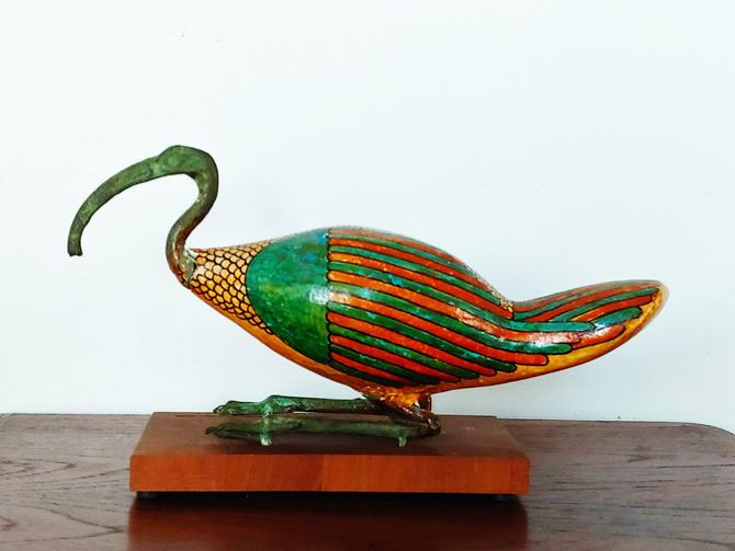Vintage Egyptian Hand Painted Thoth Ibis Sculpture by ModandOzzie