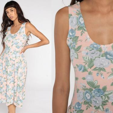 Peach Floral Dress 80s Midi Drop Waist Vintage Bohemian Sundress Sleeveless Tank 1980s Sun Dress Cotton Jersey Medium by ShopExile