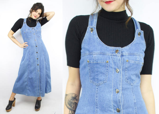 207aeed8614 Vintage 90  39 s Blue Denim Overall Dress   1990  39 s Jean Maxi ...