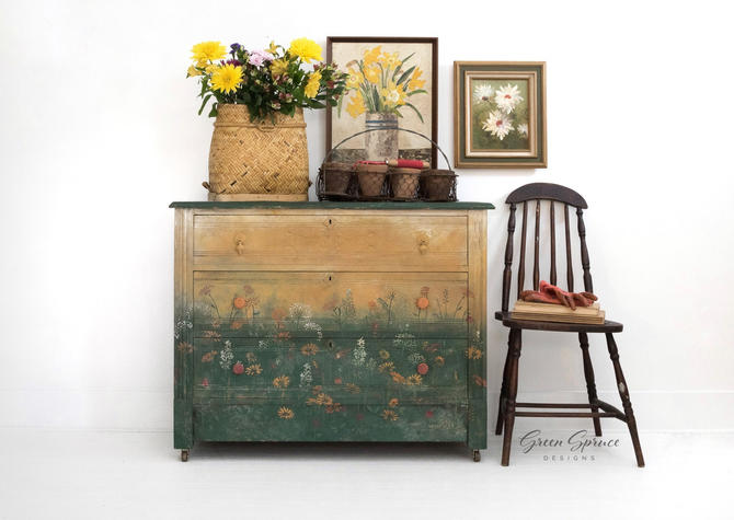 Hand Painted Vintage Chest of Drawers, Small Dresser by GreenSpruceDesigns