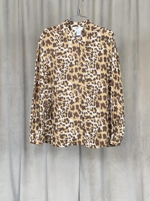 Vintage Silk Cheetah Print Button Down
