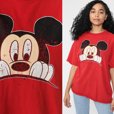 90s Mickey Mouse TShirt -- Walt Disney Shirt 1990s Graphic Cartoon T Shirt Vintage Retro Tee 80s Red Streetwear Medium Large by ShopExile