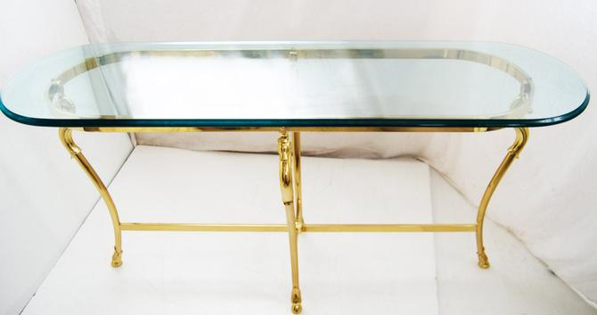Glass and Brass table Jensen Style hollywood regency mid century by Marykaysfurniture
