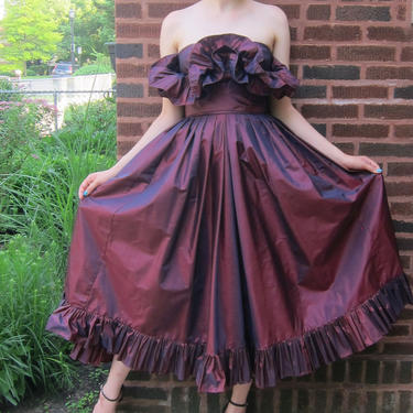 1980s Party Dress / 80s Victor Costa Evening Gown / Purple Taffeta Strapless Dress with Origami Ruffles / Small by BasyaBerkman