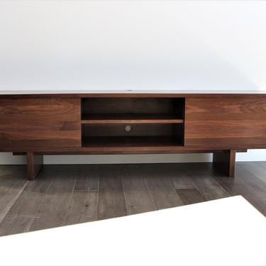 Free Shipping 70 inch Custom handmade solid walnut media console cabinet tv stand in mid century minimalist studio and contemporary style by GRWoodworker