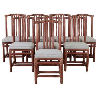 Set of Eight McGuire Organic Modern Rattan Dining Chairs by ErinLaneEstate