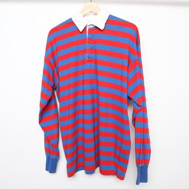 vintage 1980s HENLEY blue & red skater POLO long sleeve vintage shirt -- size by CairoVintage