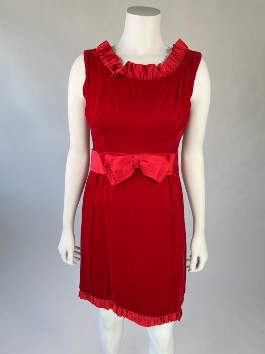 1960's Red Velvet Cocktail Dress w/ Satin Bow