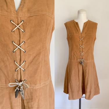 Vintage 1960s American Bazaar Faux Suede Mini Dress / M by MsTips