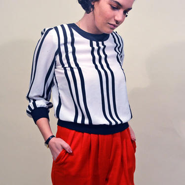 vintage 80s striped blouse 1990s blouson stripes avant-garde chic top button 1980s 90s puff sleeve shirt top by levintagecult