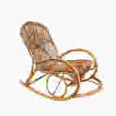 Franco Albini Rattan Rocking Chair Mid Century Modern by HearthsideHome