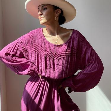 Vintage Rayon Purple Jumpsuit   Made in Pakistan by ShopLaTierra