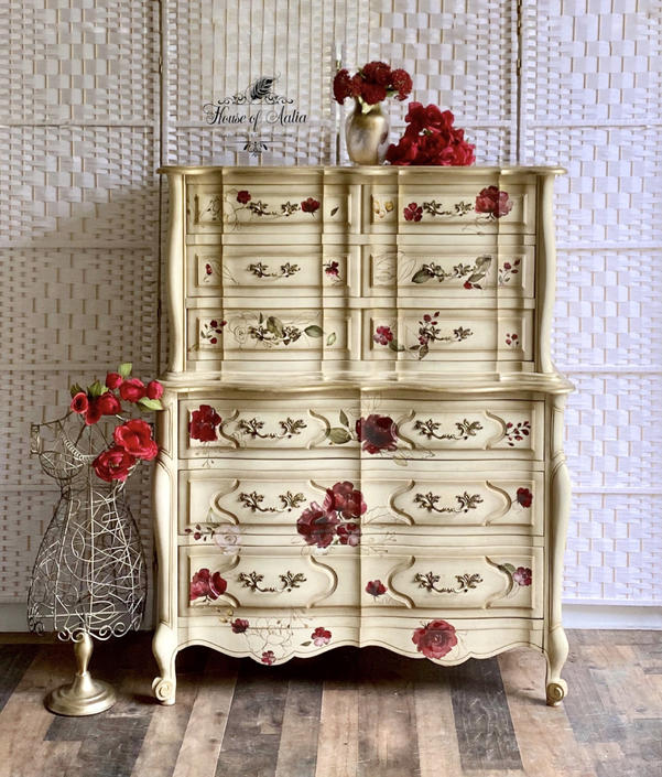 Cream and Gold Vintage French Country Chest.  Kent Coffey Dresser. Custom French Provincial Dresser.  English Roses. Eclectic Living Room. by HouseofAalia