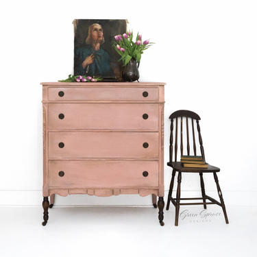Hand Painted Salmon Blush Light Pink Vintage Dresser, Feminine Antique Chest of Drawers, Shabby Chic Bureau, Rose Bedroom Nursery Furniture by GreenSpruceDesigns