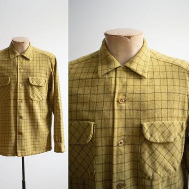 Vintage 1960s Pendleton Button Down / Green Plaid Wool Shirt / Vintage Pendleton Shirt Mens Medium / Plaid Wool Button Down / Vtg Menswear by milkandice