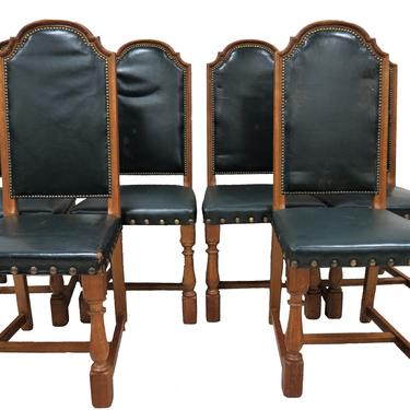 Antique Dining Chairs   Set Of 6 English Solid Oak Chairs by PickeryPlace