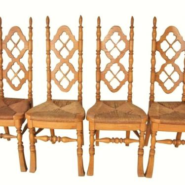 VINTAGE Dining Chairs, Rush Seat, Victorian, Jacobean Renaissance Styling, French Country Decor (Set of 4) Thomasville Chairs by 3GirlsAntiques