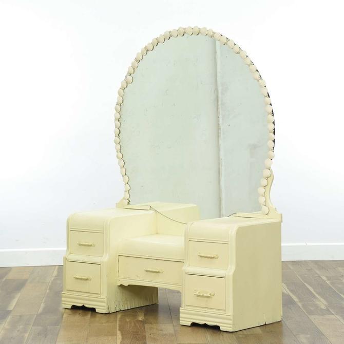L.A. Period White Vanity W Seashell Mirror Frame