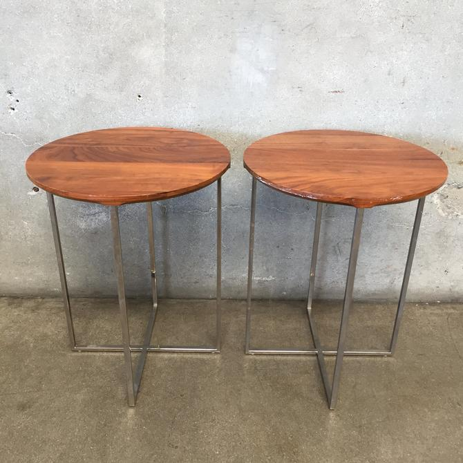 Pair of Mid Century Style Wood & Chrome End Tables