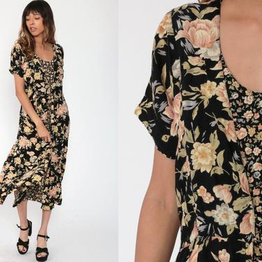 90s Floral Dress Midi Grunge Black Yellow Boho Summer Bohemian Dress 1990s Short Sleeve Vintage Garden Party Medium 10 by ShopExile